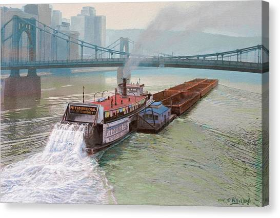 River Canvas Print - Pittsburgh River Boat-1948 by Paul Krapf