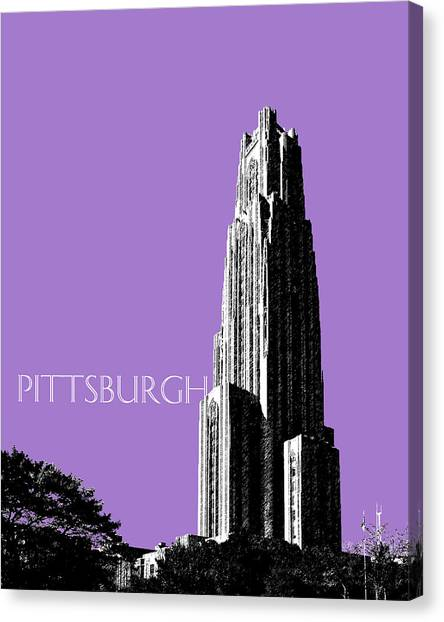 University Of Pittsburgh Canvas Print - Pittsburgh Skyline Cathedral Of Learning - Violet by DB Artist
