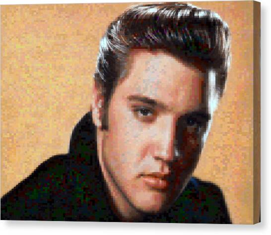 Pixelated Canvas Print - Pixelated Elvis by Gina Dsgn