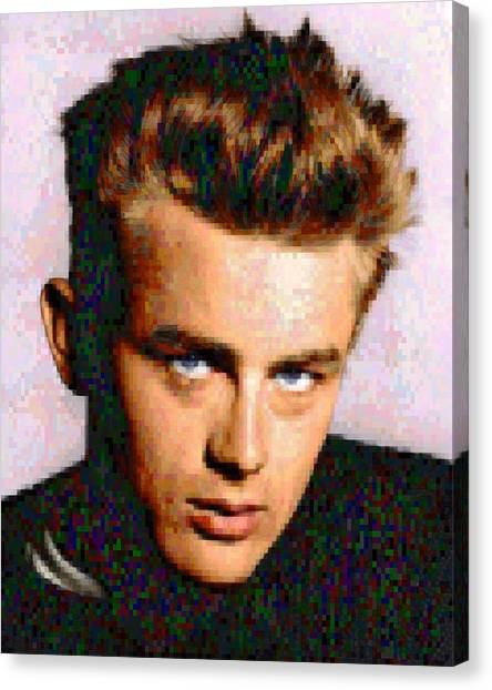 Pixelated Canvas Print - Pixelated James Dean by Gina Dsgn