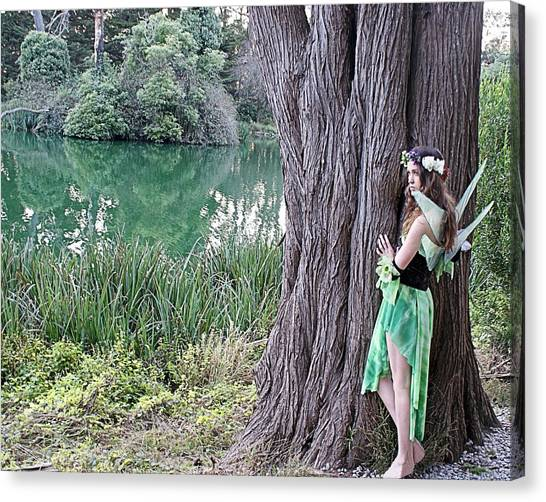 Pixie At A Tree Canvas Print