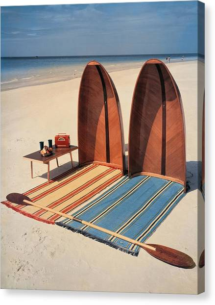 Pixie Collapsible Boat On The Beach Canvas Print