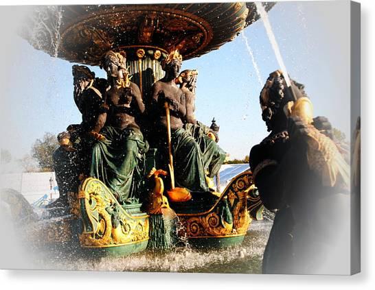 Place De La Concorde Fountain Canvas Print by Jacqueline M Lewis
