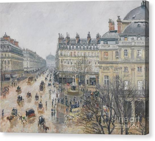 Camille Canvas Print - Place Du Theatre Francais    Paris  Rain by Camille Pissarro