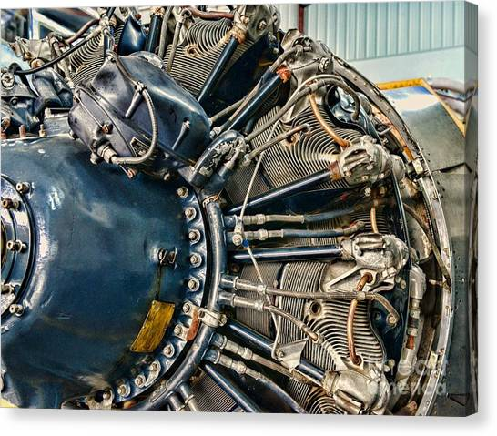 Black Widow Canvas Print - Plane Engine Close Up by Paul Ward