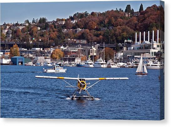 Plane On Lake Union Seattle Canvas Print