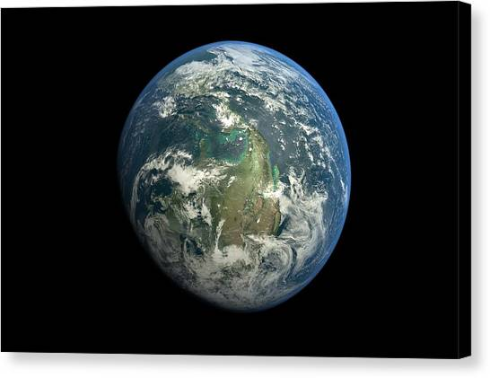 Planet Earth Against Black Background Canvas Print by Vitalij Cerepok / Eyeem