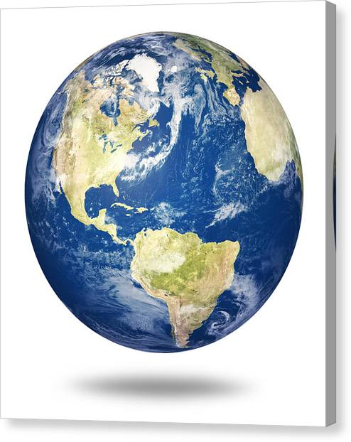 South American Canvas Print - Planet Earth On White - America by Johan Swanepoel