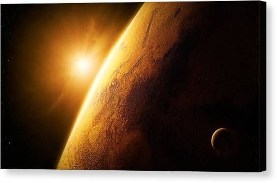 Sun Rays Canvas Print - Planet Mars Close-up With Sunrise by Johan Swanepoel
