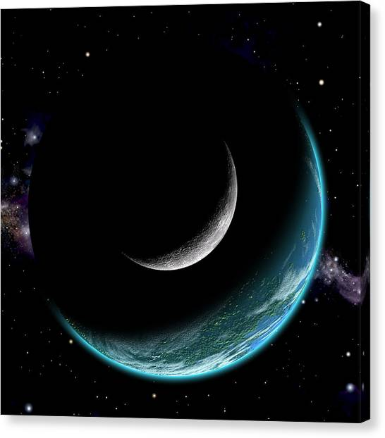 Planet With Moon Canvas Print
