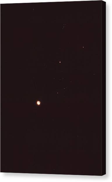 Saturn Canvas Print - Planets And Moon In Taurus by Rev. Ronald Royer/science Photo Library