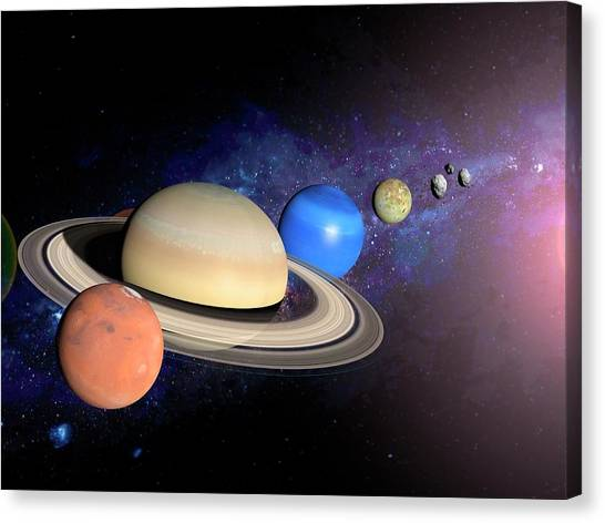 Neptune Canvas Print - Planets by Ramon Andrade 3dciencia/science Photo Library