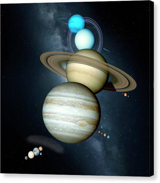 Uranus Canvas Print - Planets Size Comparison by Detlev Van Ravenswaay