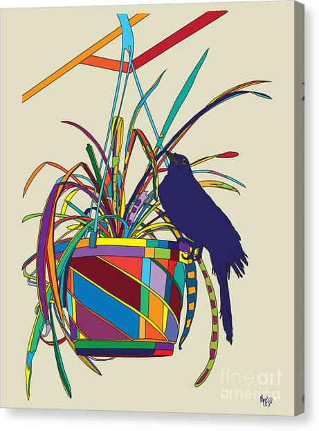 Plant Bird Pop Canvas Print