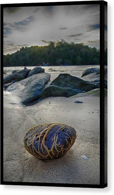 Plant-covered Rock In Krabi Canvas Print by River Engel