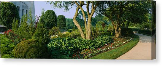 House Of Worship Canvas Print - Plants In A Garden, Bahai Temple by Panoramic Images