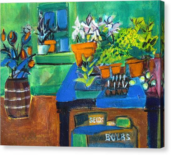 Plants In Potting Shed Canvas Print