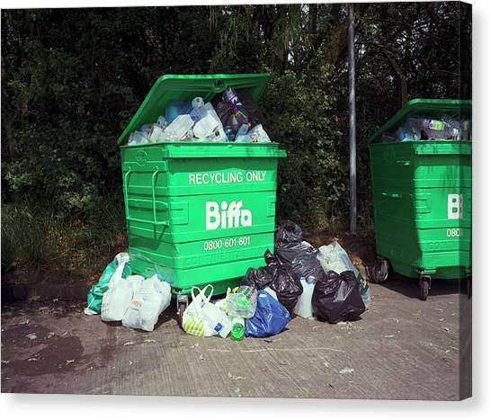 Rubbish Bin Canvas Print - Plastic Recycling by Robert Brook/science Photo Library