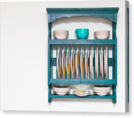 Selection Canvas Print - Plate Rack by Tom Gowanlock