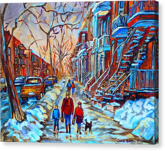 Plateau Montreal Street Scene Canvas Print
