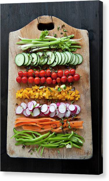 Platter Of Colored Cruditès Canvas Print