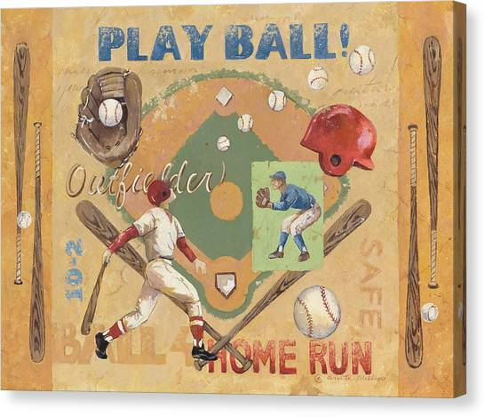 Baseball Canvas Print - Play Ball by Anita Phillips