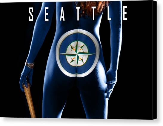 Seattle Mariners Canvas Print - Play Ball by Dario Infini