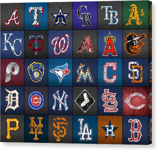 Cleveland Indians Canvas Print - Play Ball Recycled Vintage Baseball Team Logo License Plate Art by Design Turnpike