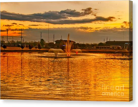 Canvas Print featuring the photograph Playa Lake At Sunset by Mae Wertz