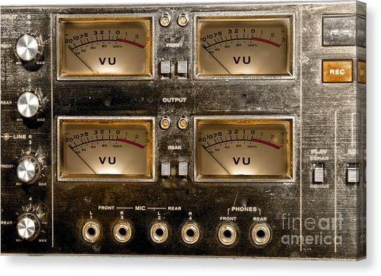 Playback Recording Vu Meters Grunge Canvas Print