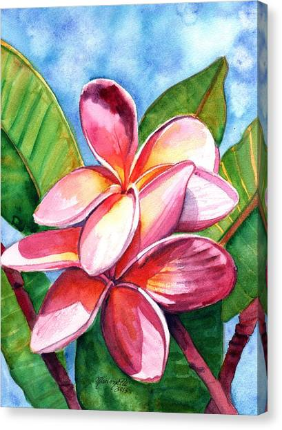 Hawaiian Flower Canvas Print - Playful Plumeria by Marionette Taboniar