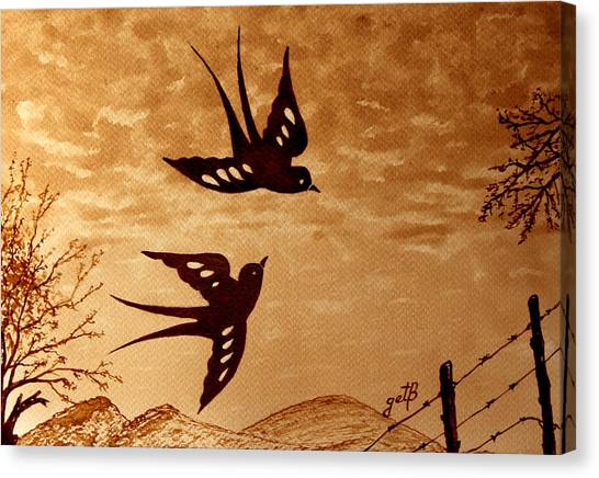 Canvas Print featuring the painting Playful Swallows Original Coffee Painting by Georgeta  Blanaru