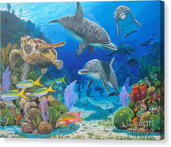 Spearfishing Canvas Print - Playground Re004 by Carey Chen
