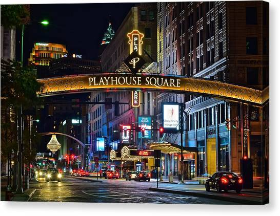 Cleveland Indians Canvas Print - Playhouse Square by Frozen in Time Fine Art Photography