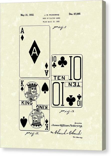 Card Canvas Print - Playing Cards 1869 Patent Art by Prior Art Design