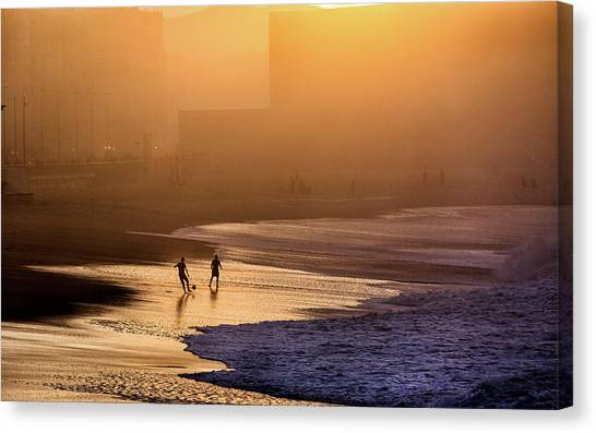Atmosphere Canvas Print - Playing Football On The Shore by Jois Domont (