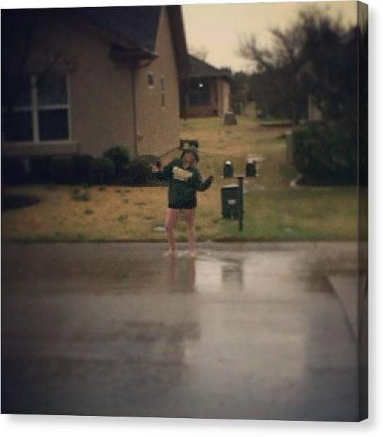 Tornadoes Canvas Print - Playing In The Puddles. #puddles #texas by Cait Pavlak