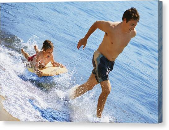 Bodyboard Canvas Print - Playing In Water by Don Hammond