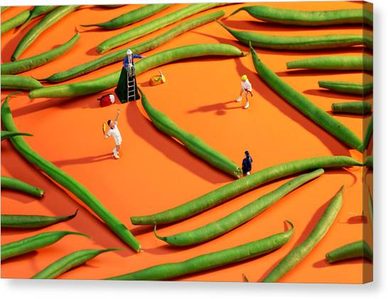 Playing Tennis Among French Beans Little People On Food Canvas Print
