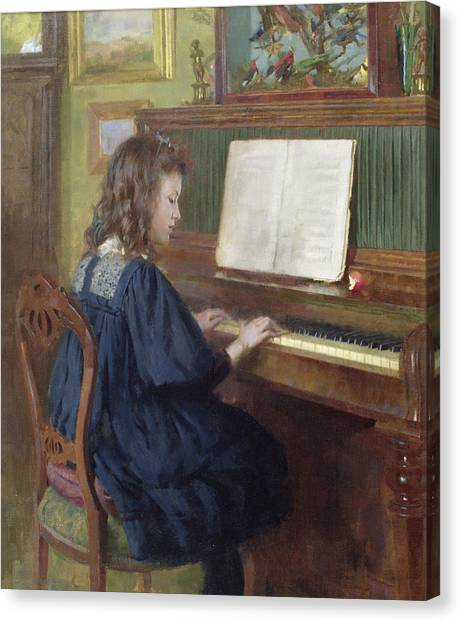 Pianos Canvas Print - Playing The Piano by Ernest Higgins Rigg