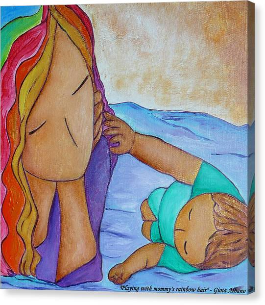 Playing With Mommy's Rainbow Hair Canvas Print