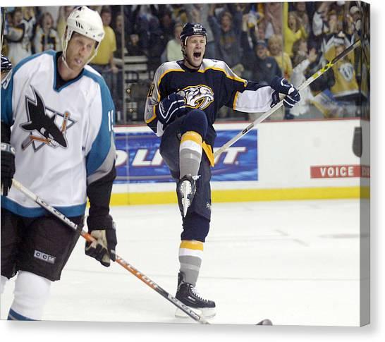 Nashville Predators Canvas Print - Playoff Hockey by Don Olea