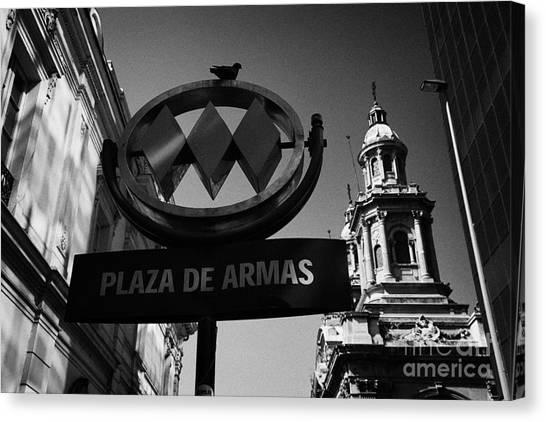 plaza de armas metro station near Santiago Metropolitan Cathedral Chile Canvas Print by Joe Fox