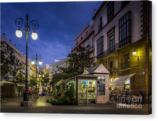 Plaza De Las Flores Cadiz Spain Canvas Print