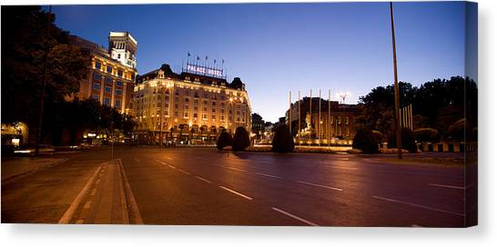 The Prado Canvas Print - Plaza De Neptuno And Palace Hotel by Panoramic Images