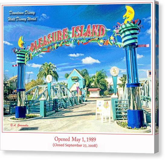 Pleasure Island Sign And Walkway Downtown Disney Canvas Print