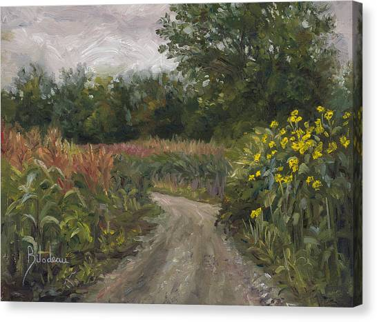 Dirt Road Canvas Print - Plein Air - Corn Field by Lucie Bilodeau
