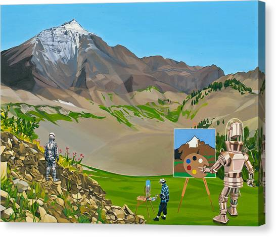 Canvas Print featuring the painting Plein Air Robot by Scott Listfield