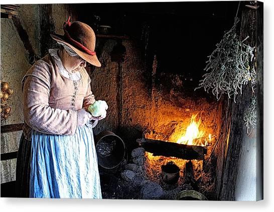 Plimoth Plantation  Pilgrim Fireplace Cooking Canvas Print