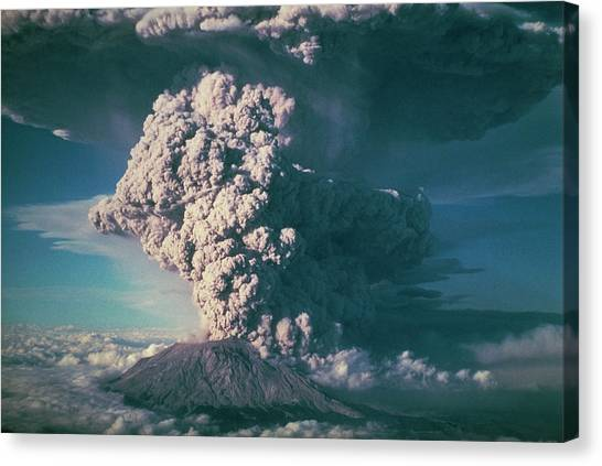 Mount St. Helens Canvas Print - Plinian Column Of Ash by Prof. Stewart Lowther/science Photo Library